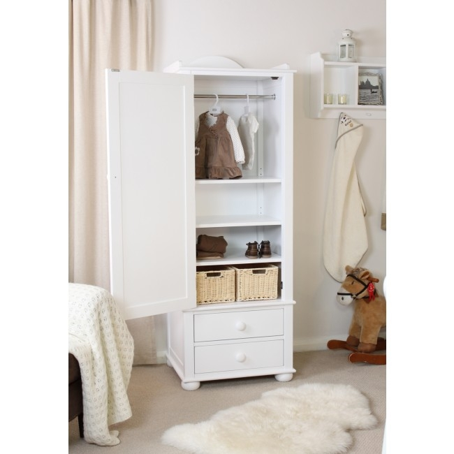 Kinder Childrens Single Wardrobe White Solid Ash With Drawers Chic certainly regarding Single Wardrobe With Drawers And Shelves (Image 6 of 20)