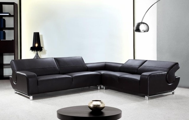 L Shaped Black Leather Sectional Sofa With Adjustable Backrests very well throughout Leather L Shaped Sectional Sofas (Image 5 of 20)
