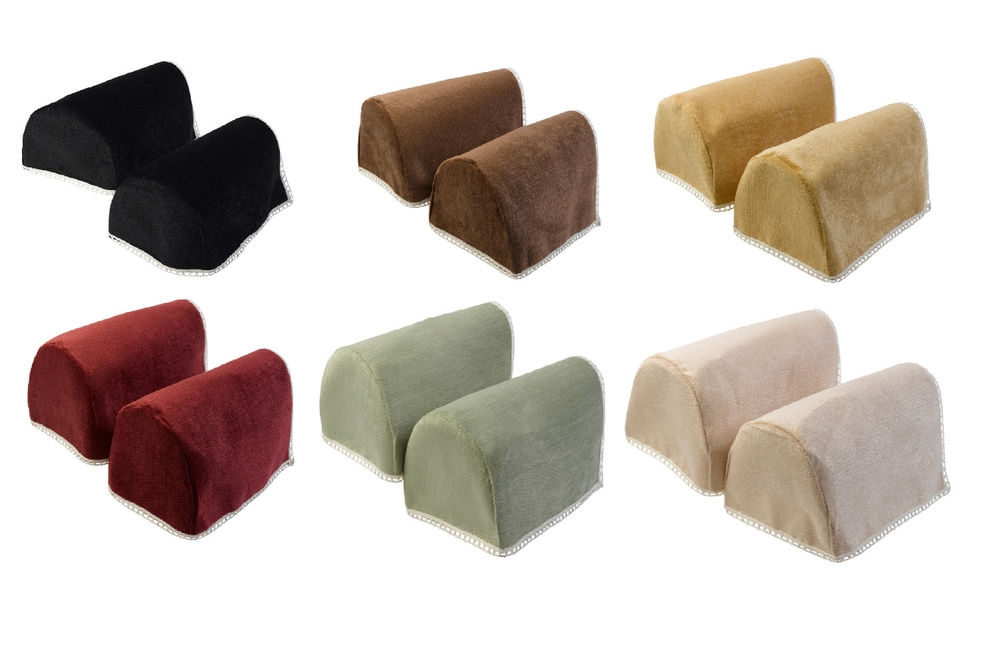 Lace Trim Chenille Round Arm Caps Standard Xl Mini Chair perfectly inside Sofa Arm Caps (Image 11 of 20)