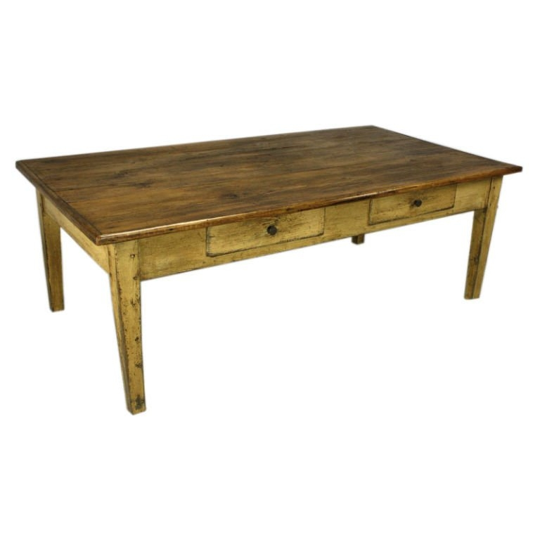 Large Antique French Pine Coffee Table With Old Painted Base At Certainly Inside Pine Coffee Tables (View 15 of 20)