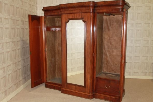 Large Victorian Mahogany Wardrobe Peppermill Interiors most certainly regarding Victorian Mahogany Breakfront Wardrobe (Image 14 of 20)