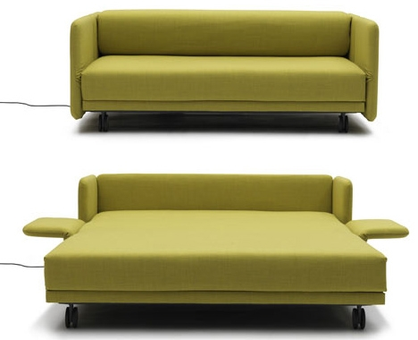 Lazy Luxury Sleeper Convertible Push Button Couch Bed clearly within Mini Sofa Sleepers (Image 11 of 20)