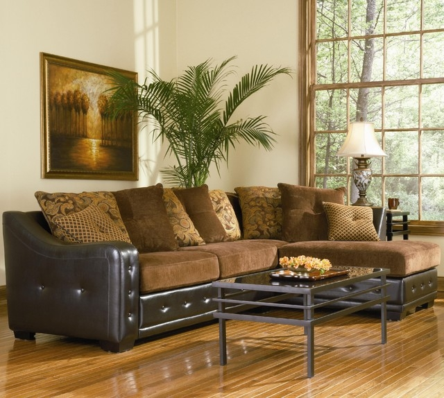 Popular Photo of Chenille And Leather Sectional Sofa