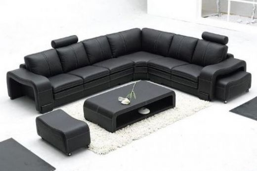 Leather Sofas Interior Design perfectly pertaining to Large Black Leather Corner Sofas (Image 14 of 20)