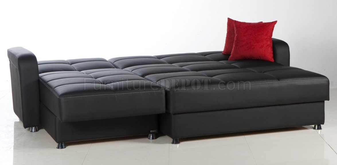 Leatherette Modern Sectional Convertible Sofa Bed Effectively For Sofa Convertibles (View 12 of 20)