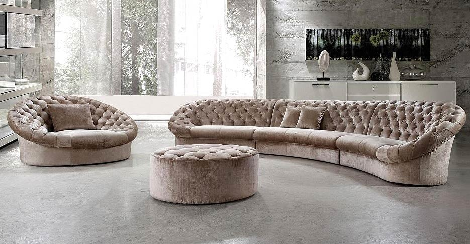 Leon Fabric Sectional Sofa Chair And Round Ottoman Fabric properly for Sofa Chair and Ottoman (Image 7 of 20)