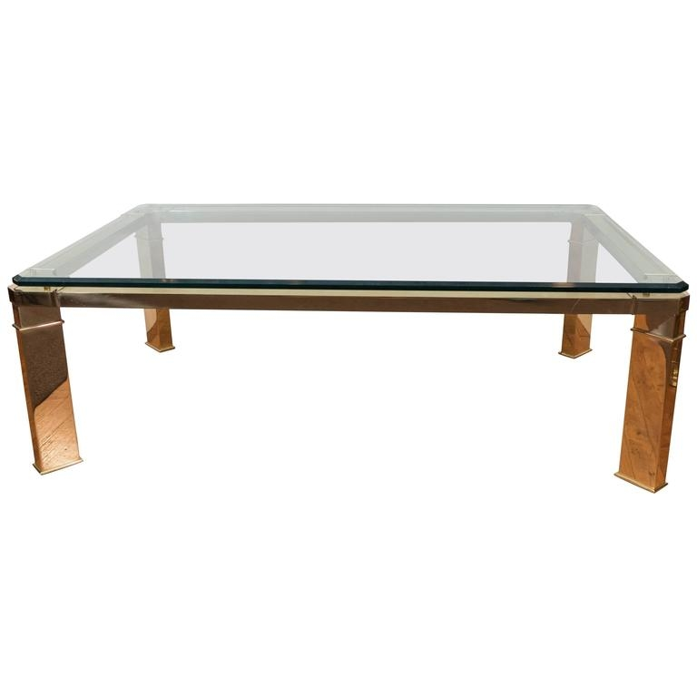Leon Rosen Floating Glass Coffee Table With Brass Fitting For good with regard to Floating Glass Coffee Tables (Image 10 of 20)