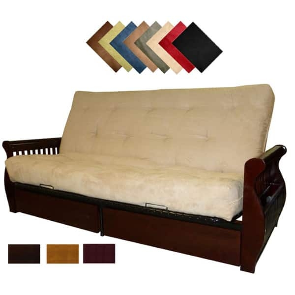 Lexington Microfiber Suede Inner Spring Queen Size Futon Sofa Bed properly pertaining to Fulton Sofa Beds (Image 9 of 20)