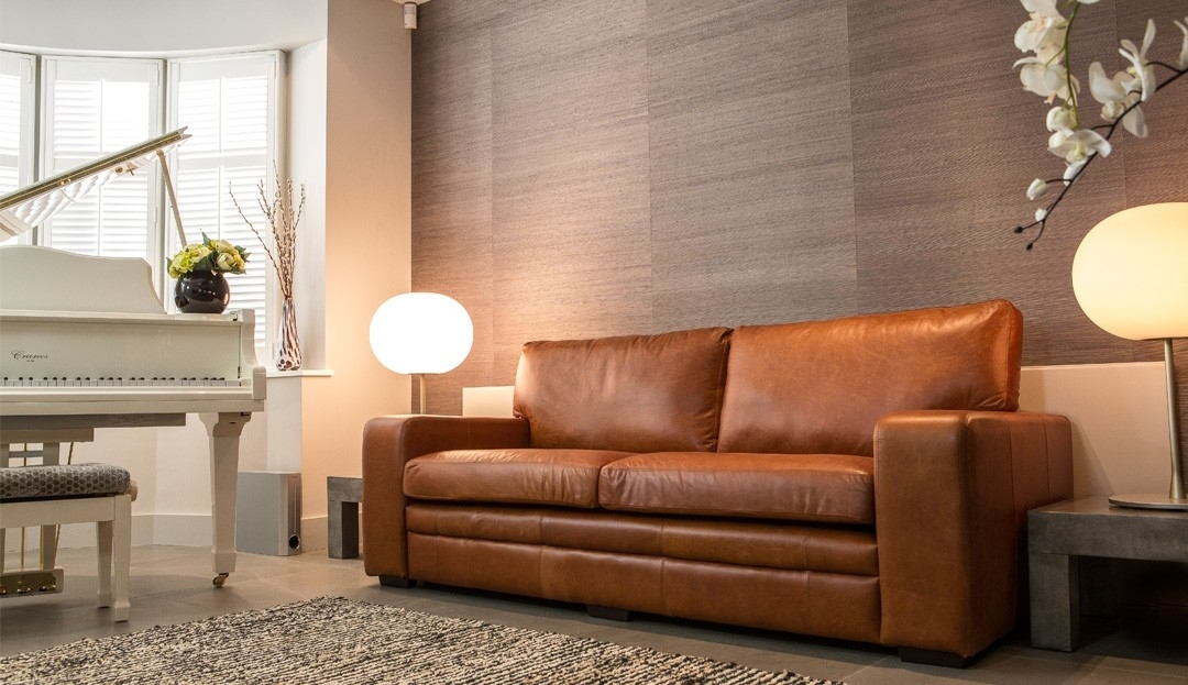 Light Tan Leather Couch Brown Leather Sofa Stylish Modern Brown good with regard to Light Tan Leather Sofas (Image 9 of 20)