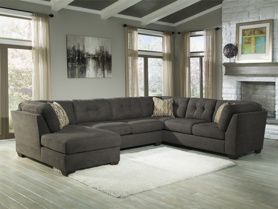 Living Room Durable Dark Genuine Leather Upholstery Sectional good within Durable Sectional Sofa (Image 8 of 20)