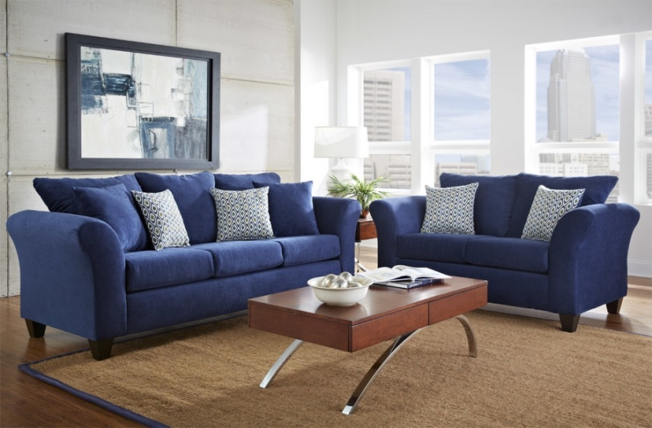 Living Room With Dark Blue Sofa Carameloffers Good Intended For Dark Blue Sofas (View 10 of 20)