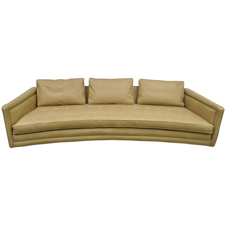Long Curved Harvey Probber Button Tufted Leather Mid Century perfectly pertaining to Long Modern Sofas (Image 13 of 20)