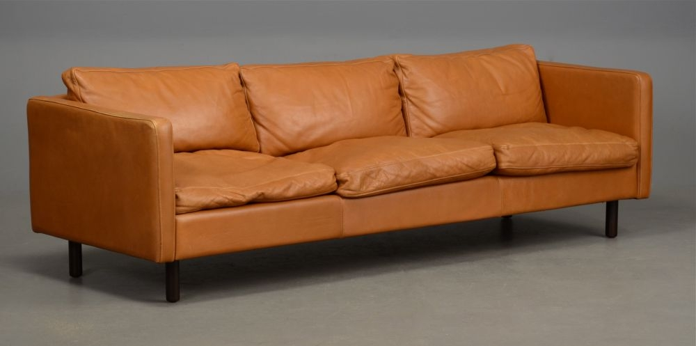 Long Danish Leather Sofa In Light Tan Seating Apollo Antiques perfectly intended for Light Tan Leather Sofas (Image 10 of 20)