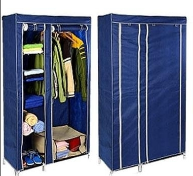 Look For Kms Large Double Navy Canvas Wardrobe Steel Frame Non properly for Large Double Rail Wardrobes (Image 19 of 30)