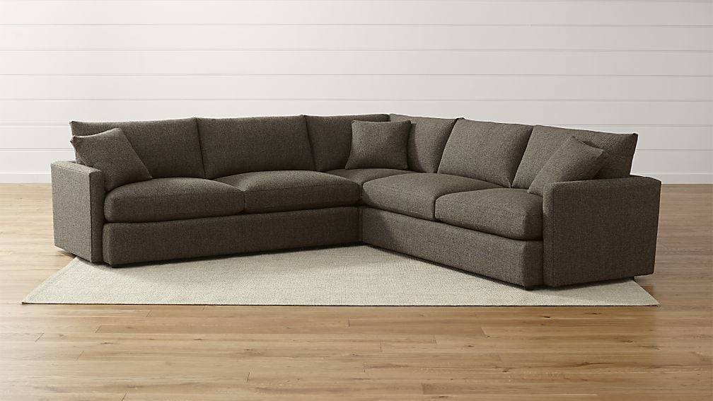 Lounge Ii Petite 3 Piece Sectional Sofa Crate And Barrel definitely throughout 3 Piece Sectional Sleeper Sofa (Image 8 of 20)