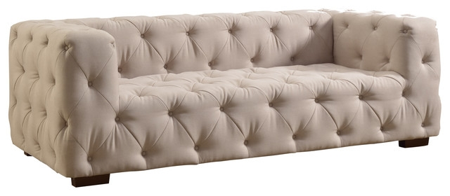 Luxurious Modern Large Tufted Linen Fabric Sofa Contemporary good within Tufted Linen Sofas (Image 11 of 20)