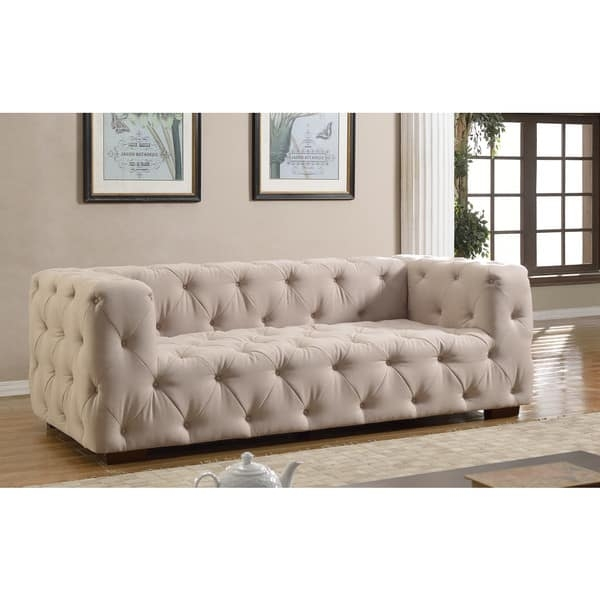 Luxurious Modern Large Tufted Linen Fabric Sofa Free Shipping definitely with Tufted Linen Sofas (Image 12 of 20)