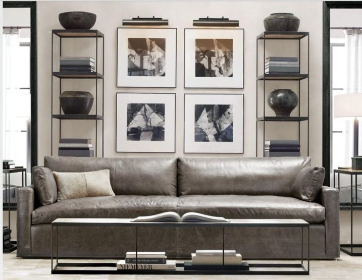 Magnificent Gray Leather Living Room Furniture Properly Throughout Grey  Sofa Chairs (Image 18 Of 20 Part 71