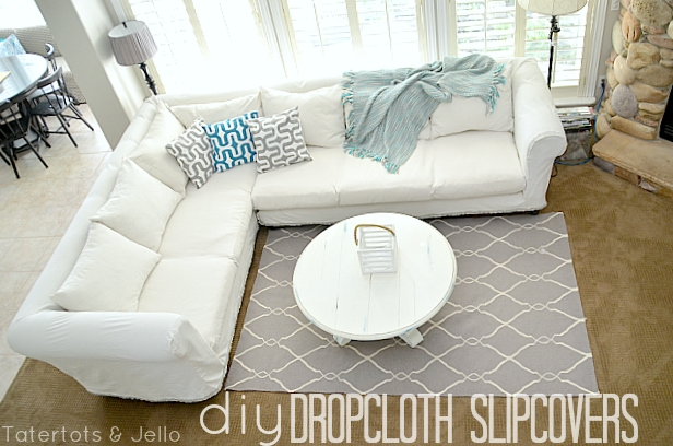 Make A Dropcloth Sofa Sectional Slipcover Tatertots And Jello good pertaining to Slipcover for Leather Sectional Sofas (Image 8 of 20)