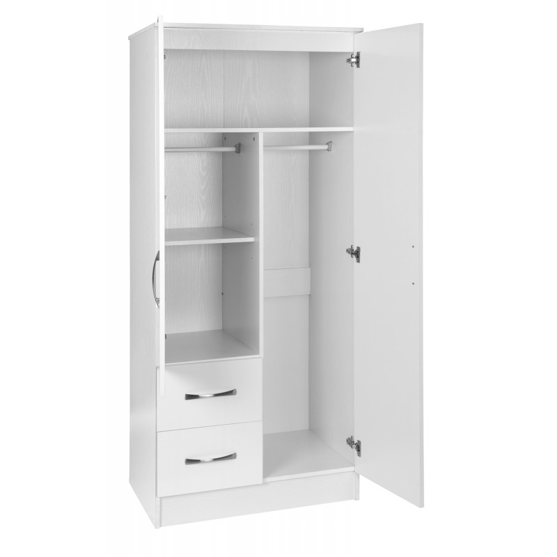 Marina White Gloss Two Tone 2 Door Combi Wardrobe Ark Furniture nicely with regard to 2 Door Wardrobe With Drawers And Shelves (Image 7 of 30)
