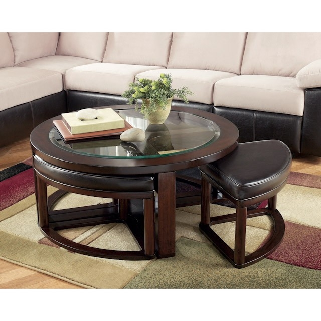 Marion Round Coffee Table With 4 Backless Stools Bernie Phyls certainly intended for Coffee Tables With Nesting Stools (Image 12 of 20)