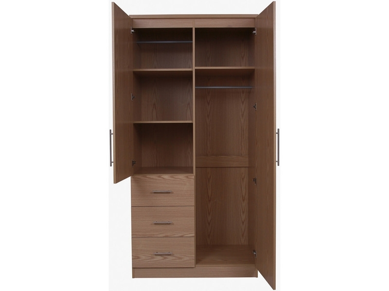 Marley 2 Door Mirrored Wardrobe Discount Furnishings effectively inside 2 Door Wardrobe With Drawers And Shelves (Image 3 of 30)