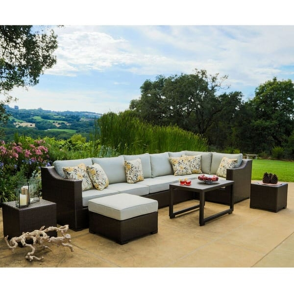 Matura Outdoor 10 Piece Brown Wicker Sectional Sofa Set Corvus Clearly With Regard To 10 Piece Sectional Sofa (View 15 of 20)