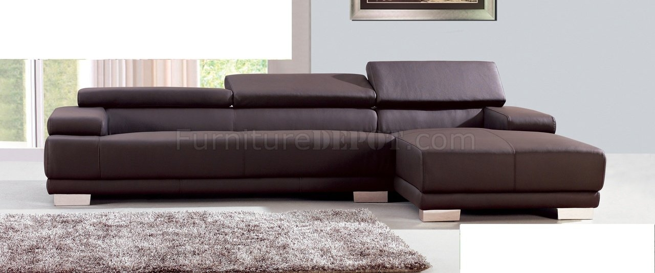 Melody Sectional Sofa In Chocolate Leather Whiteline Imports good with regard to Chocolate Brown Sectional Sofa (Image 18 of 20)