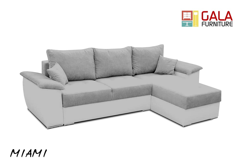 Miami Fabric Corner Sofa Bed In Grey White 260cm X 160cm Ebay well throughout Fabric Corner Sofa Bed (Image 14 of 20)