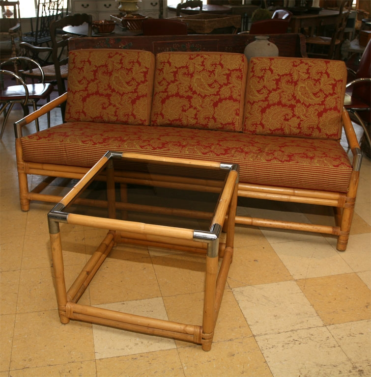 Mid Century Ficks Reed Bamboo Sofa And Table Omero Home certainly within Bambo Sofas (Image 18 of 20)