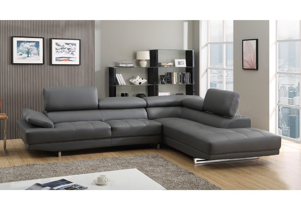 Milano Stylist Modern Grey Leather Corner Sofa Righthand Certainly Inside Corner Sofa Leather (View 17 of 20)