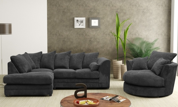 Milo Corner And 3 Seat Sofa Set Groupon Goods clearly pertaining to Corner Sofa And Swivel Chairs (Image 18 of 20)