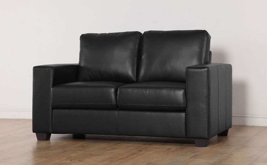 Mission Black Leather 2 Seater Sofa Only 29999 Furniture Choice properly regarding Black 2 Seater Sofas (Image 15 of 20)