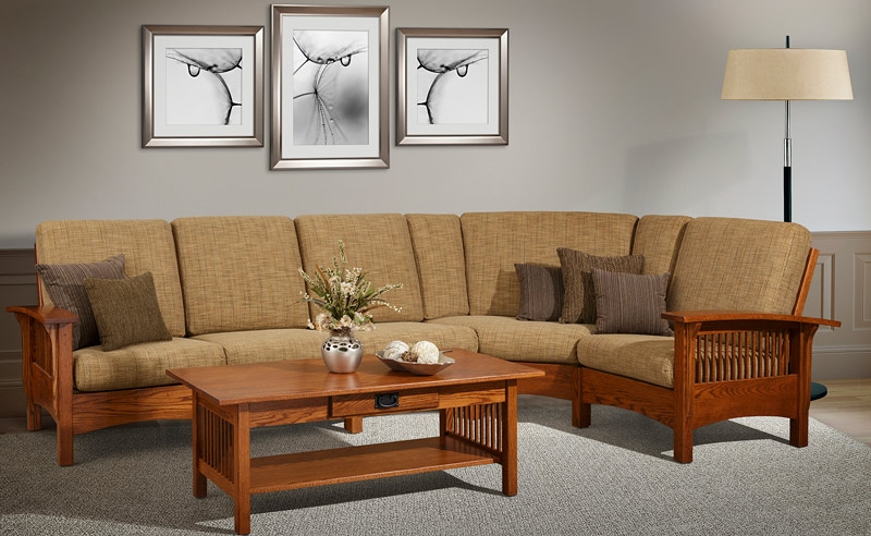 Mission Style Upholstered Furniture In Oak Maple Or Cherry very well throughout Craftsman Sectional Sofa (Image 16 of 20)