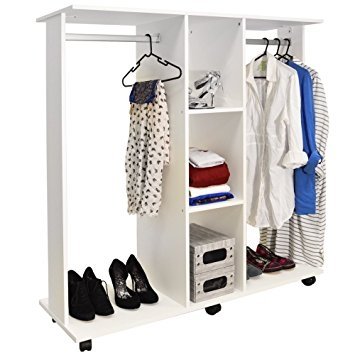 Mobile Double Open Wardrobe Clothes Hanging Rail White clearly with Double Clothes Rail Wardrobes (Image 9 of 20)