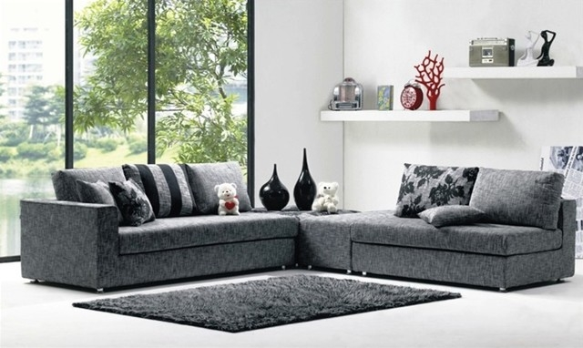 Modern Denim Blue Fabric Sectional Sofa Set definitely pertaining to Cloth Sectional Sofas (Image 10 of 20)