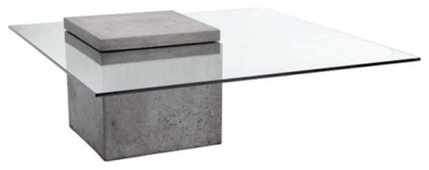 Modern Glass Coffee Table With Polished Concrete Contemporary perfectly for Contemporary Glass Coffee Tables (Image 15 of 20)