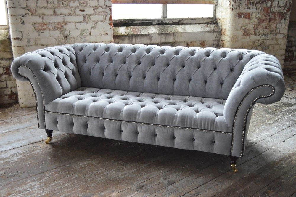 Modern Handmade Silver Velvet Fabric Chesterfield Sofa Couch Chair perfectly throughout Chesterfield Sofa And Chairs (Image 15 of 20)