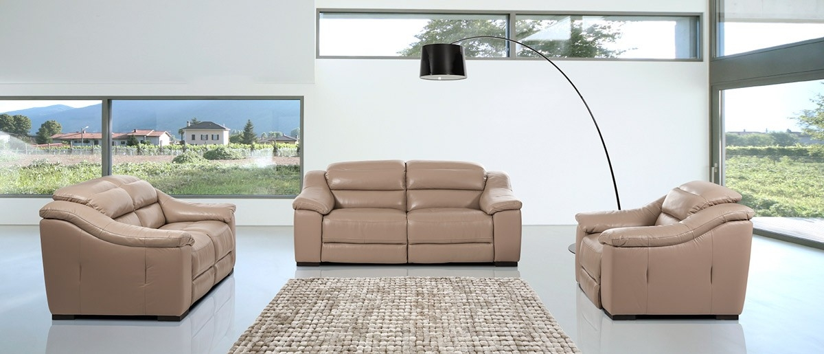 Modern Power Reclining Leather Taupe Sofa Set certainly within Modern Reclining Leather Sofas (Image 12 of 20)
