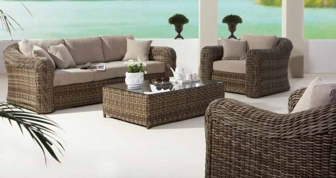 Modern Round Rattan Furniture 4 Pcs Sofa Set Omr F154 Omier perfectly intended for Modern Rattan Sofas (Image 8 of 20)