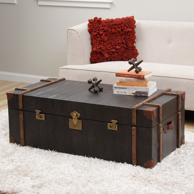 Modern Trunk Coffee Table Table And Estate very well intended for Dark Wood Chest Coffee Tables (Image 18 of 20)