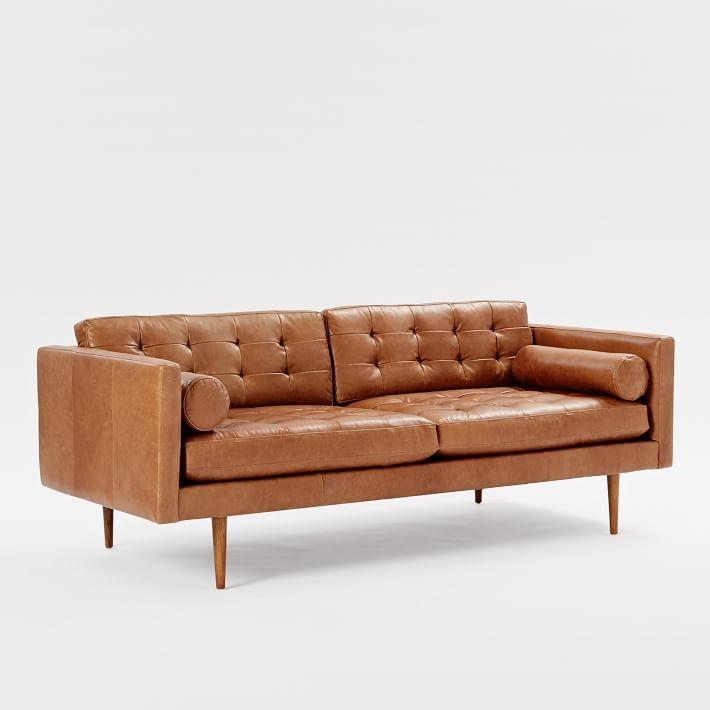 Monroe Mid Century Leather Sofa 80 West Elm properly with Aniline Leather Sofas (Image 15 of 20)