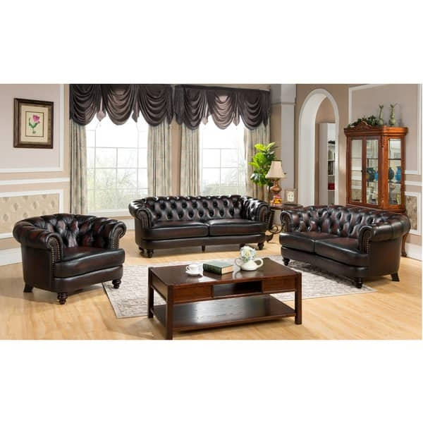 Moore Tufted Brown Chesterfield Top Grain Leather Sofa Loveseat definitely pertaining to Sofa Loveseat and Chairs (Image 18 of 20)