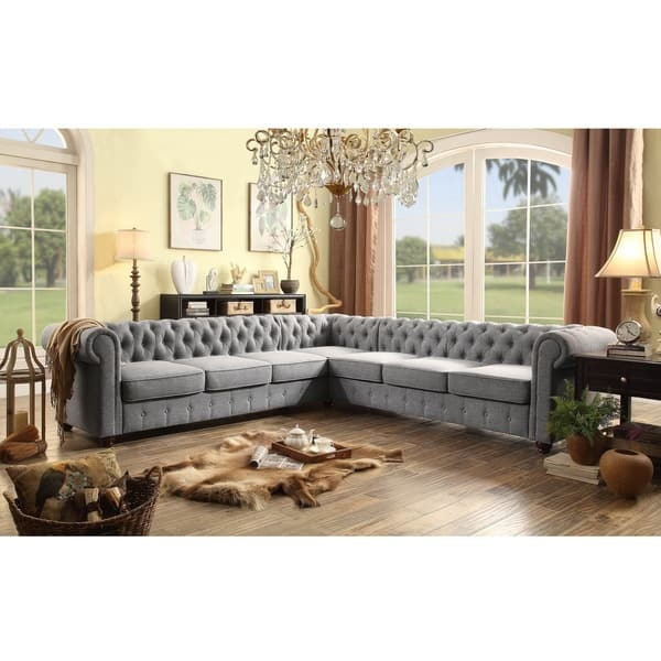 Moser Bay Furniture Garcia Collection Linen And Wood 7 Seat clearly with regard to 7 Seat Sectional Sofa (Image 7 of 20)