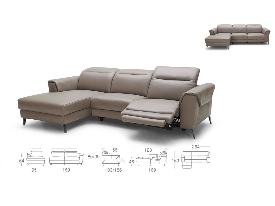 Mosley Modern Grey Leather Sectional Sofa W Recliners perfectly pertaining to Gray Leather Sectional Sofas (Image 13 of 20)