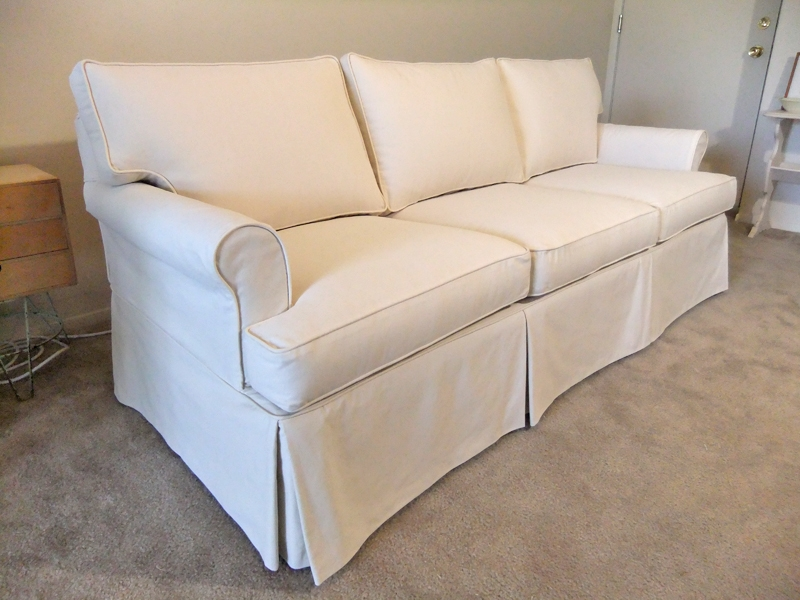 Natural Canvas Slipcover For Ethan Allen Sofa The Slipcover Maker Well Throughout Slipcovers For Sofas And Chairs (View 14 of 20)