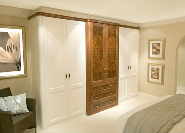 Neat Ideas Of Burr Walnut White Fitted Wardrobes 650468 very well within Fitted Wooden Wardrobes (Image 8 of 30)