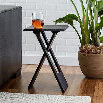 New Black Accent Table Wood Folding End Snack Side Dinner Drink most certainly intended for Sofa Drink Tables (Image 13 of 20)
