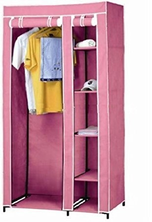 New Pink Double Canvas Wardrobe Clothes Hanging Rail Cupboard definitely in Double Canvas Wardrobe Rail Clothes Storage Cupboard (Image 17 of 20)