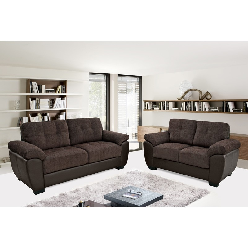 Newport Chocolate Brown Chenille Fabric Leather Match Sofa effectively with Newport Sofas (Image 7 of 20)